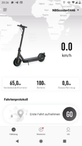 Segwayn Ninebot MAX G30D Startbildschirm